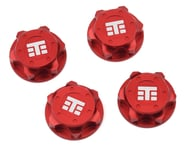 """Tekno RC 17mm Aluminum """"T Logo"""" Covered Serrated Wheel Nut (Red) (4) 