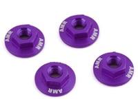 AMR 4mm Aluminum Serrated Flange Nut (Purple) (4) (Team Associated RC10 B6.2)