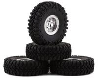 """HobbyPlus CR-18 Grabber M/T 1.0"""" Pre-Mounted Tire Set (Chrome) (4) (Beadlock)"""