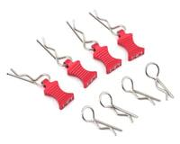 Hot Racing 1/10 Red Aluminum EZ Pulls (4) with Body Clips (8) HRAAC03EZ02