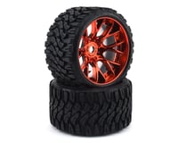 Sweep Terrain Crusher Belted Pre-Mounted Monster Truck Tires (Red) (2) (Arrma Kraton 6S BLX)