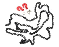 Yeah Racing 96cm 1/10 Crawler Scale Steel Chain Accessory w/Red Hooks (Black)