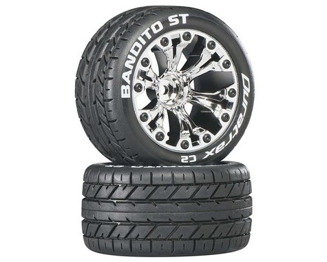 DuraTrax Bandito ST 2.8 Mounted Truck Tires 1/2 Offset Chrome DTXC3545