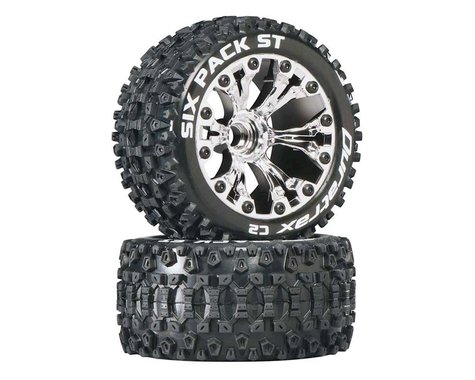 DuraTrax Sixpack ST 2.8 Mounted Truck Tires 2WD Front Chrome DTXC3559