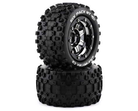 """DuraTrax SixPack MT Belt 2.8"""" Mounted .5 Offset 17mm Black Chrome Front/Rear Tires (2) DTXC5605"""