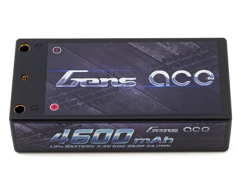 Gens Ace 4600mAh 7.4V 60C 2S2P HardCase Lipo Battery Shorty Pack 29# with 4.0mm Bullet to Deans Plug GA-B-60C-4600-2S2P-HardCase-29