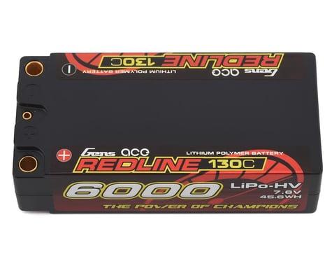 Gens Ace Redline Series 6000mAh 7.6V 130C 2S2P HardCase HV Shorty Lipo Battery GA-R-130C-6000-2S2P-HC65-HV