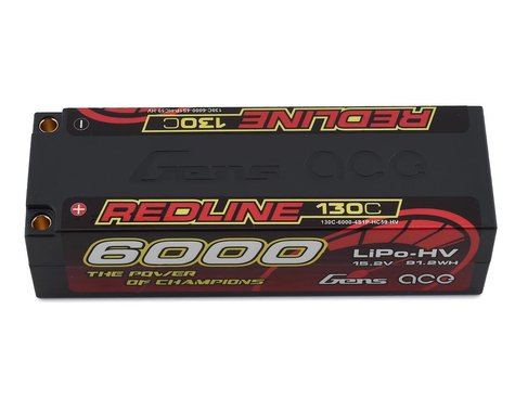Gens Ace Redline Series 6000mAh 15.2V 130C 4S1P HardCase HV Lipo Battery GA-R-130C-6000-4S1P-HC59-HV