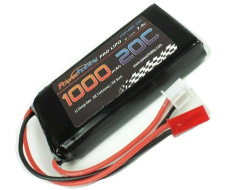 Power Hobby 2S 7.4V 1000mAh 20C LiPo Battery with JST Connector PHB2S100020CJST