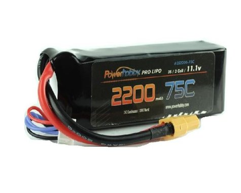 Power Hobby 3S 11.1V 2200mAh 75C LiPo Battery Pack with XT60 Plug 3-Cell PHB3S220075CXT60