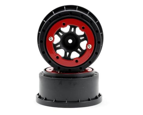 "Pro-Line Sixer 2.2""/3.0"" Red/Black Bead-Loc Front Wheels (2) PRO271404"
