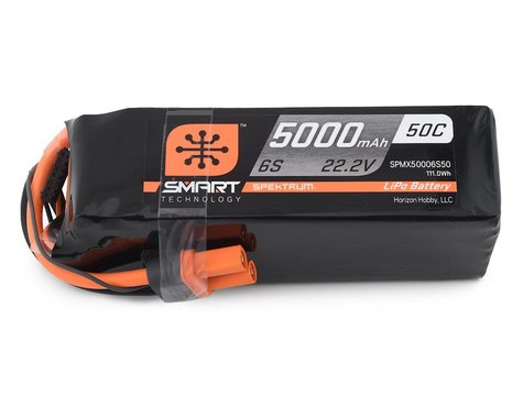 Spektrum 6S 22.2V 5000mAh 50C Smart LiPo Battery IC5 SPMX50006S50