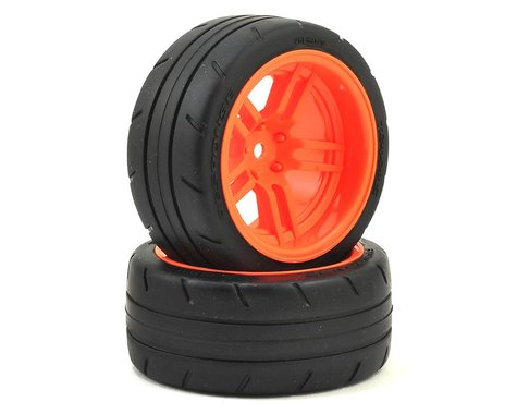 Traxxas Extra Wide Rear Tires & Orange Wheels Assembled TRA8374A